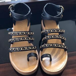 CHANEL Black Sandals with Chains